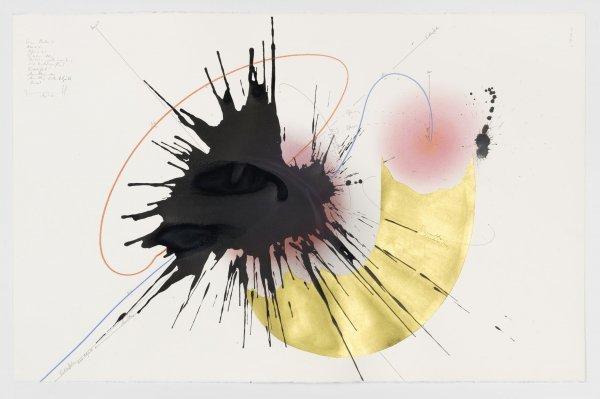 Jorinde Voigt. A New Kind of Joy - © Jorinde Voigt, Lacan-Studie (9), 2016, Tinte, Blattgold, Ölkreide, Pastell, Bleistift auf Papier, © VG Bild Kunst Bonn, 2017