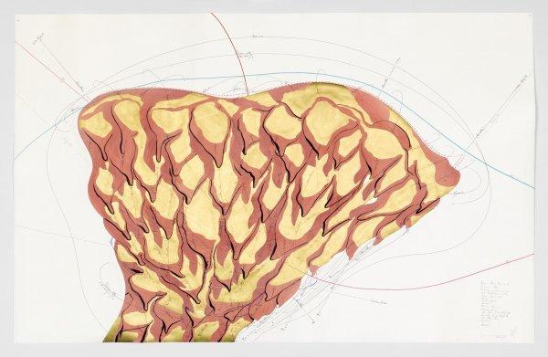 Jorinde Voigt. A New Kind of Joy - © Jorinde Voigt, Hauro-Algorythmus (2), (Detail),  2015, Tinte, Blattgold, Ölkreide, Tusche, Bleistift auf Papier, © VG Bild Kunst Bonn, 2017