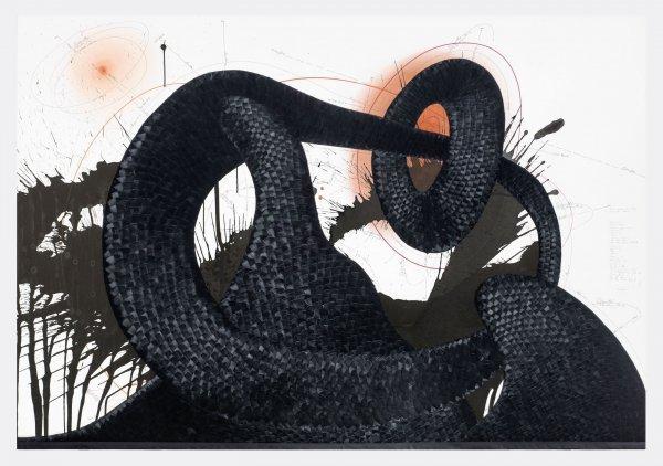 """Von Gustav Malers """"Lied von der Erde"""" - © Jorinde Voigt,Focus-Synchronicity-Relief-Expectation-Now (1), aus der Serie/from the series Focus-Synchronicity-Relief-Expectation-Now 1-4, 2015 Tinte, Tusche, Federn, Pastell, Ölkreide, Bleistift auf Karton, 126 x 182,5 cm, Privatsammlung Köln, © VG Bild Kunst Bonn, 2017"""