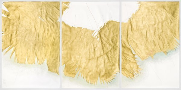 """""""Nachgefragt. Was Sie schon immer über Kunst wissen wollten"""" - © Jorinde Voigt, Cavallini-Algorithmus, Triptychon, Detail, 2015, je 210 x, 141 cm, Tinte, Gold, Ölkreide, Pastell, Bleistift auf Papier © VG Bild Kunst Bonn, 2017"""