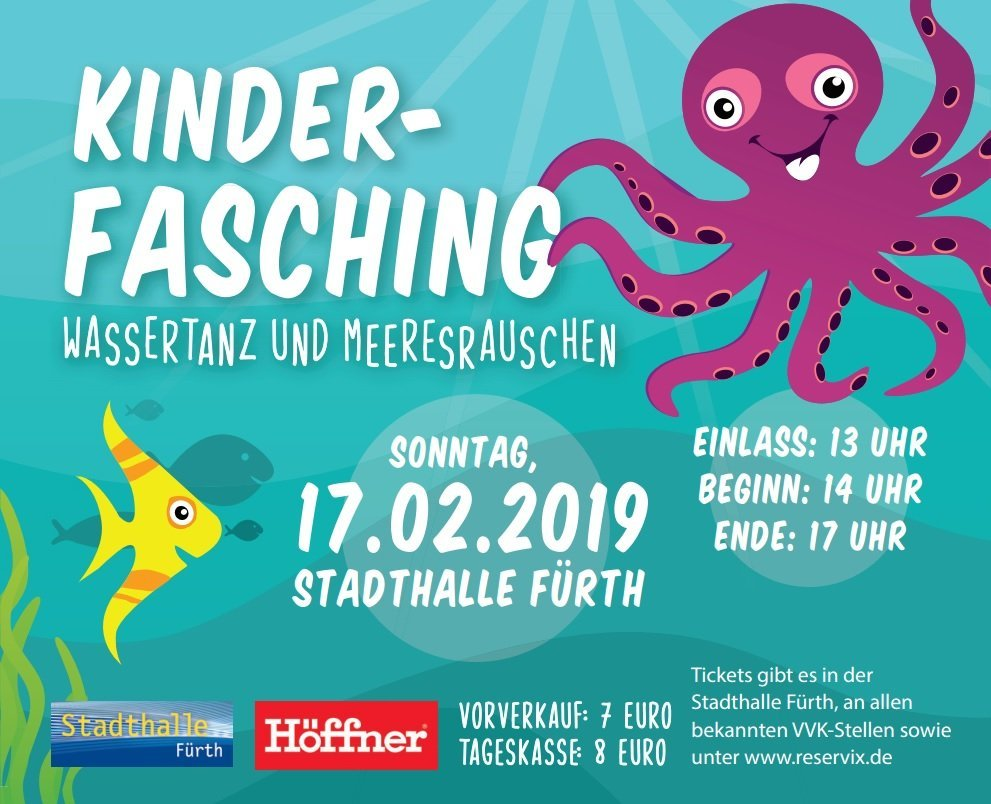 Unterwasserwelt - Wassertanz und Meeresrauschen: Kinderfasching in der Stadthalle Fürth